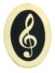 Oval Pin - Treble Clef