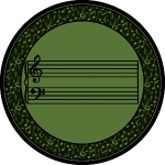 Fully Staffed Classroom Music Rug - 13 Ft 2 In Round Sage