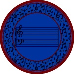 Fully Staffed Classroom Music Rug - 7 Ft 7 In Round Blue