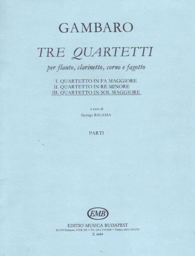 Quartet in G Major - Flute, Clarinet, Horn, and Bassoon