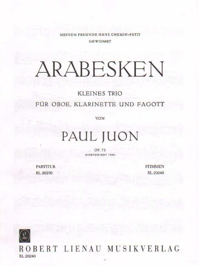Arabesques, Op. 73 - Oboe, Clarinet, and Bassoon