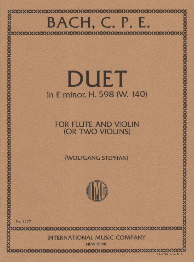 Duet in E minor (G major), H. 598 W. 140 - Flute and Violin (or Two Violins)