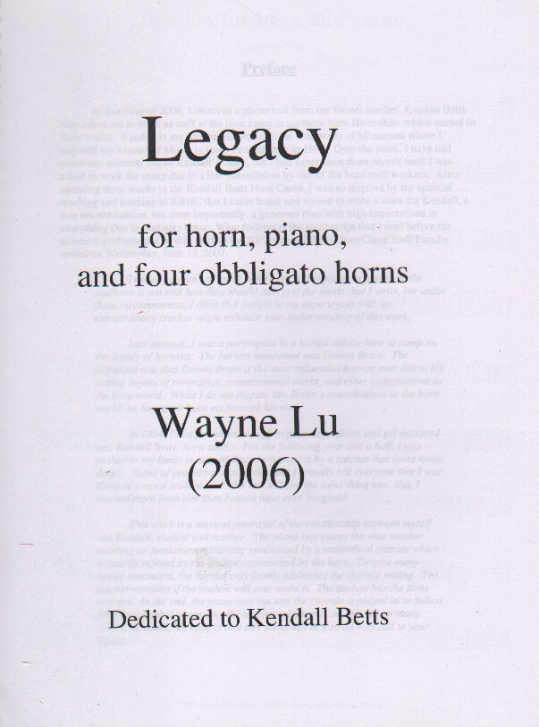 Legacy - Horn and Piano with 4 Obbligato Horns