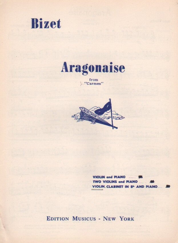 Aragonaise from Carmen- Flute (or Violin), Clarinet, and Piano