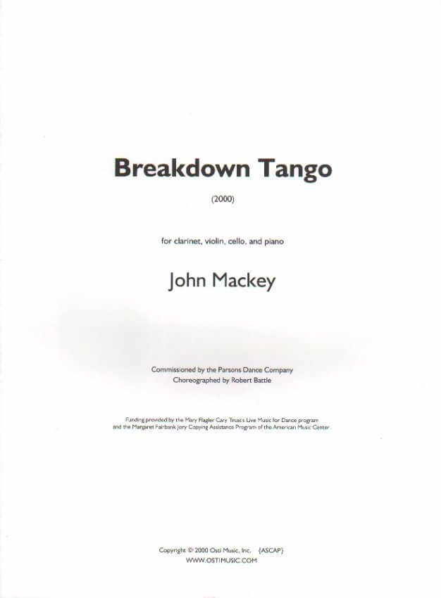 Breakdown Tango - Clarinet, Violin, Cello and Piano
