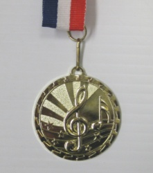 "2.5"" Gold Music Medal w/ Red,White,Blue Ribbon"