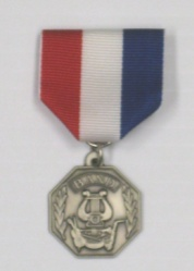 Band Medal Silvertone Attached RWB Pin Drape